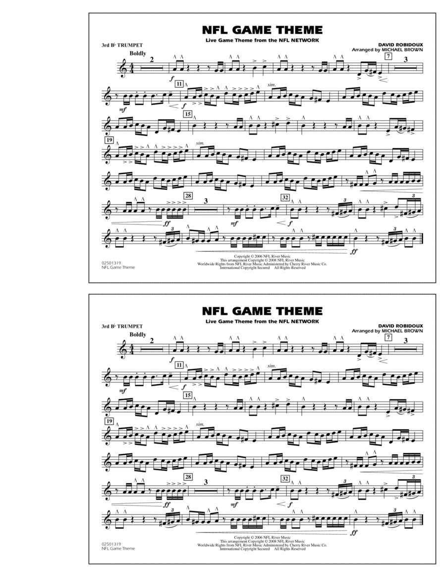 NFL Game Theme - 3rd Bb Trumpet