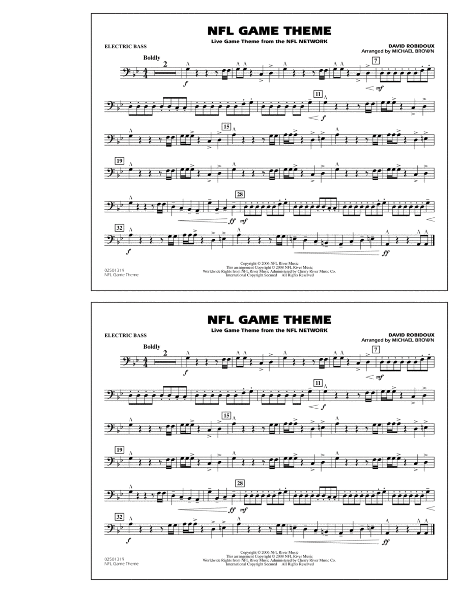 NFL Game Theme - Electric Bass
