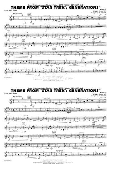 Theme from Star Trek: Generations - 3rd Bb Trumpet