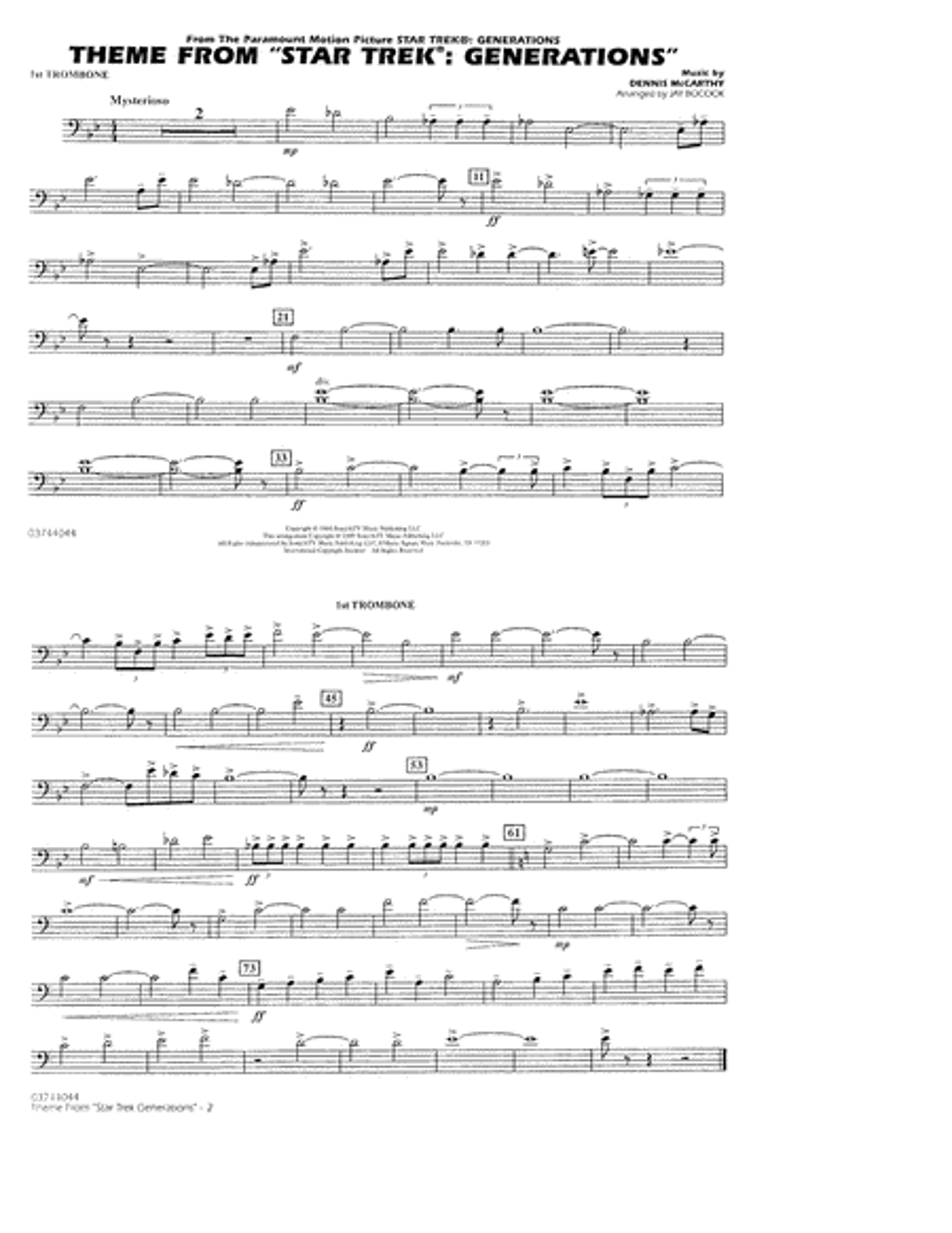 Theme from Star Trek: Generations - 1st Trombone