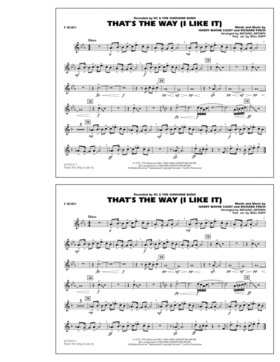 That's the Way (I Like It) - F Horn