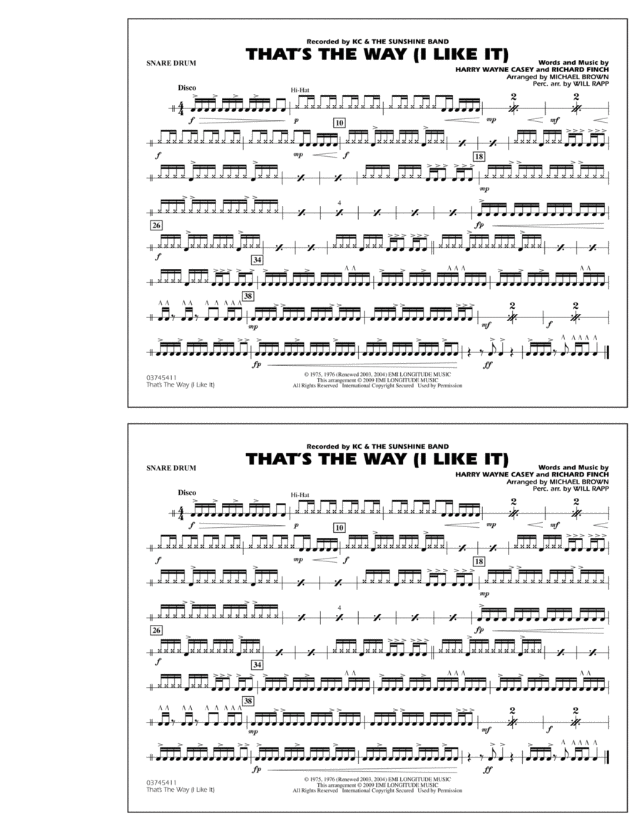 That's the Way (I Like It) - Snare Drum