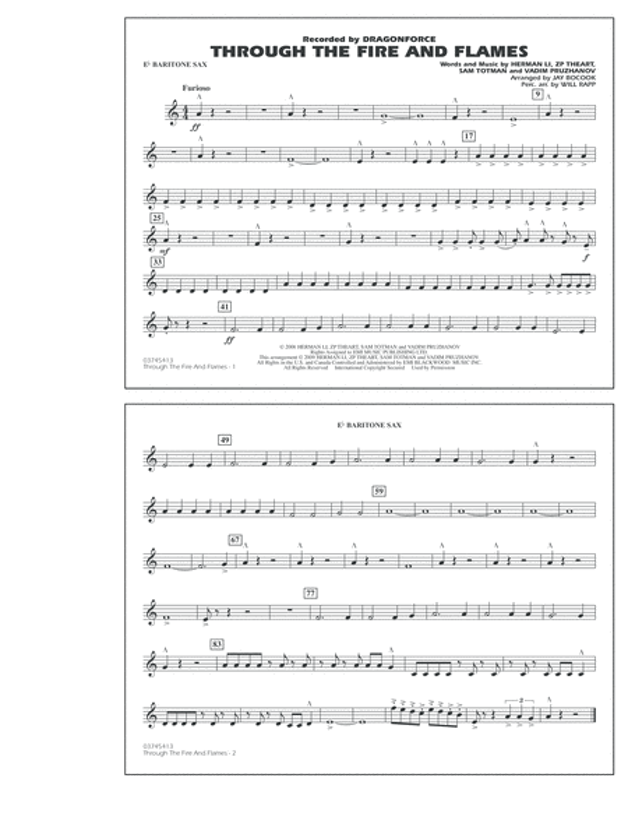 Through the Fire and Flames - Eb Baritone Sax