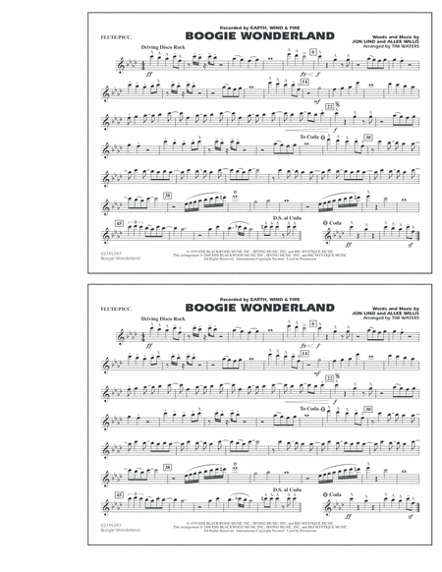 Boogie Wonderland - Flute/Piccolo