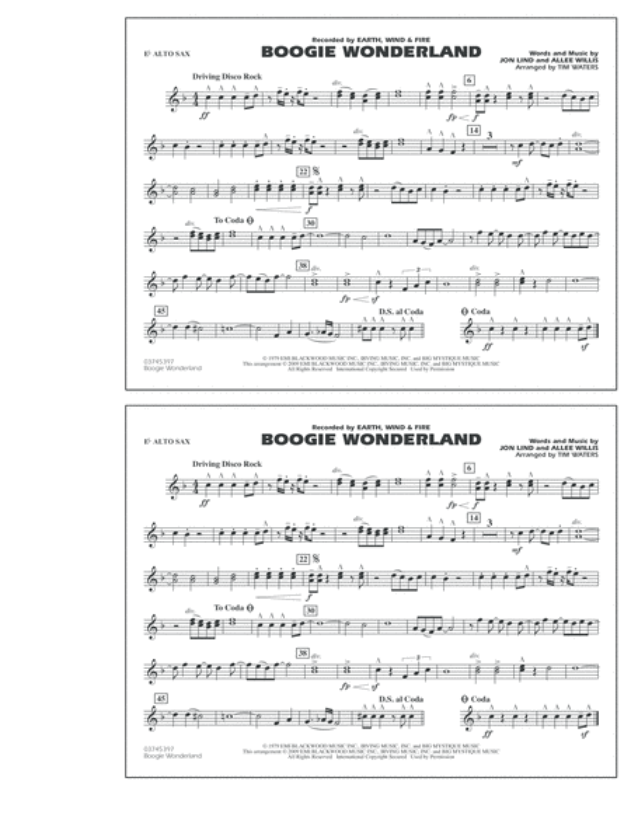 Boogie Wonderland - Eb Alto Sax