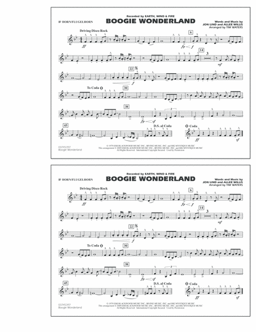 Boogie Wonderland - Bb Horn/Flugelhorn