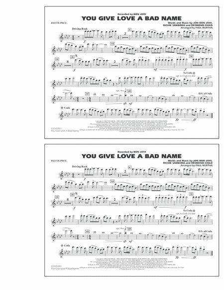 You Give Love a Bad Name - Flute/Piccolo