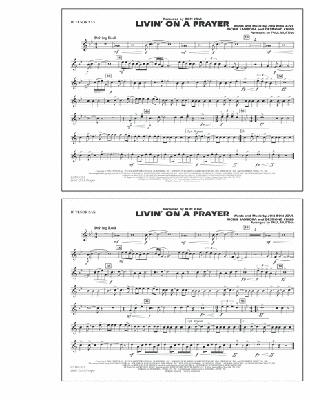Livin' on a Prayer - Bb Tenor Sax