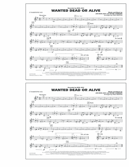Wanted Dead or Alive - Eb Baritone Sax