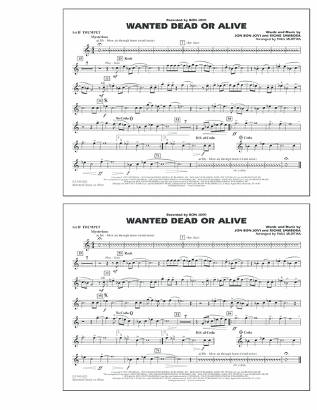 Wanted Dead or Alive - 1st Bb Trumpet