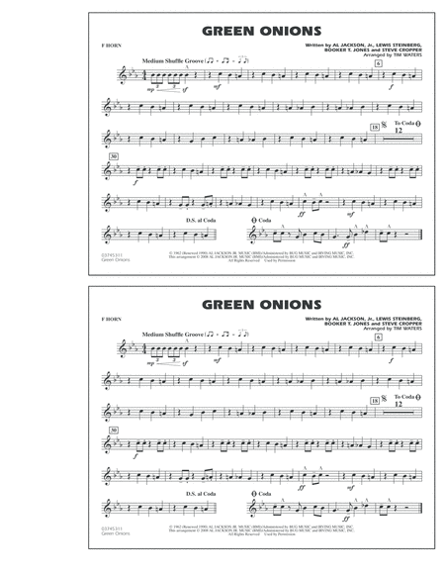 Green Onions - F Horn