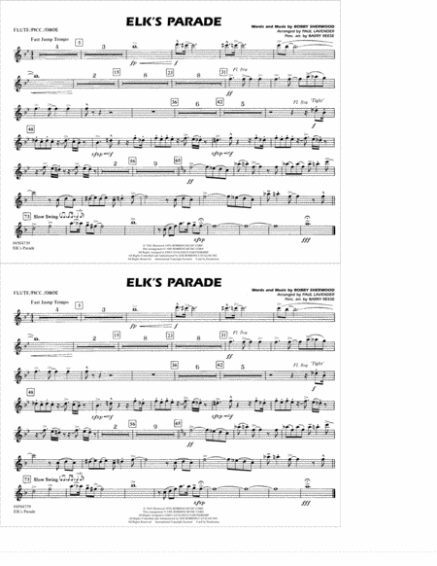 Elk's Parade - Flute/Picc./Oboe