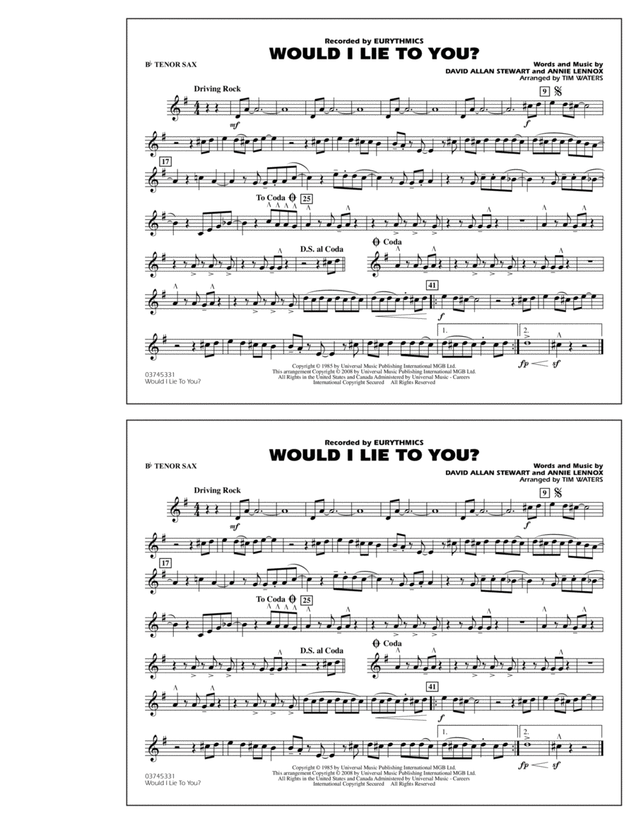 Would I Lie to You? - Bb Tenor Sax