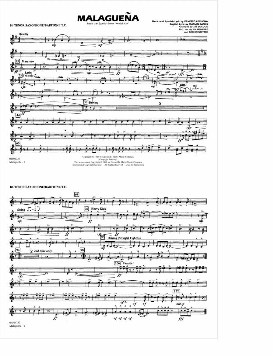 Malaguena - Bb Tenor Sax/Baritone TC