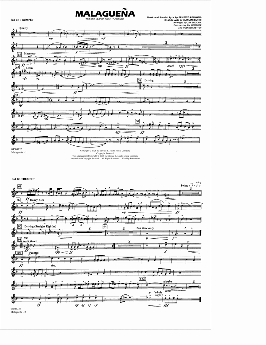 Malaguena - 3rd Bb Trumpet
