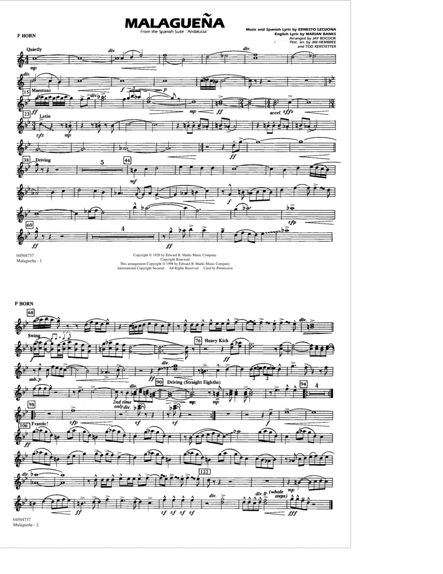 Malaguena - F Horn