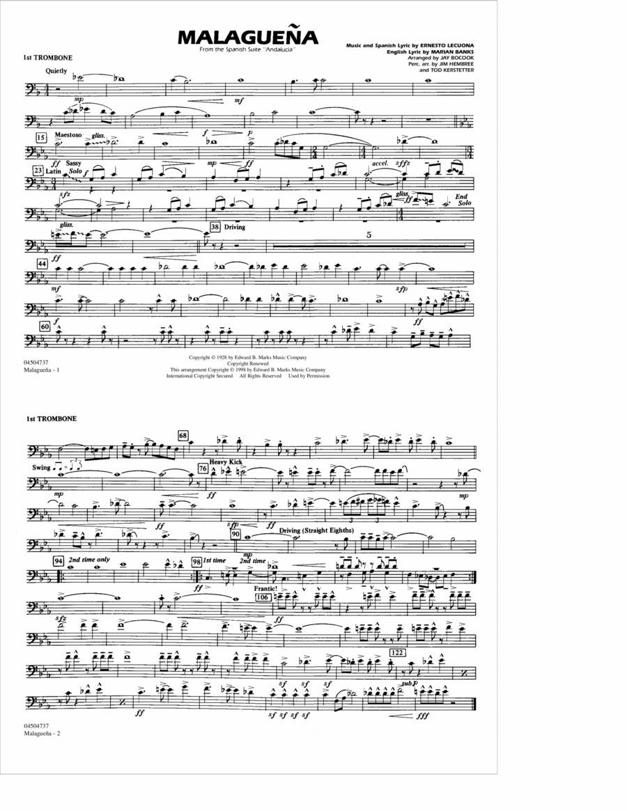 Malaguena - 1st Trombone