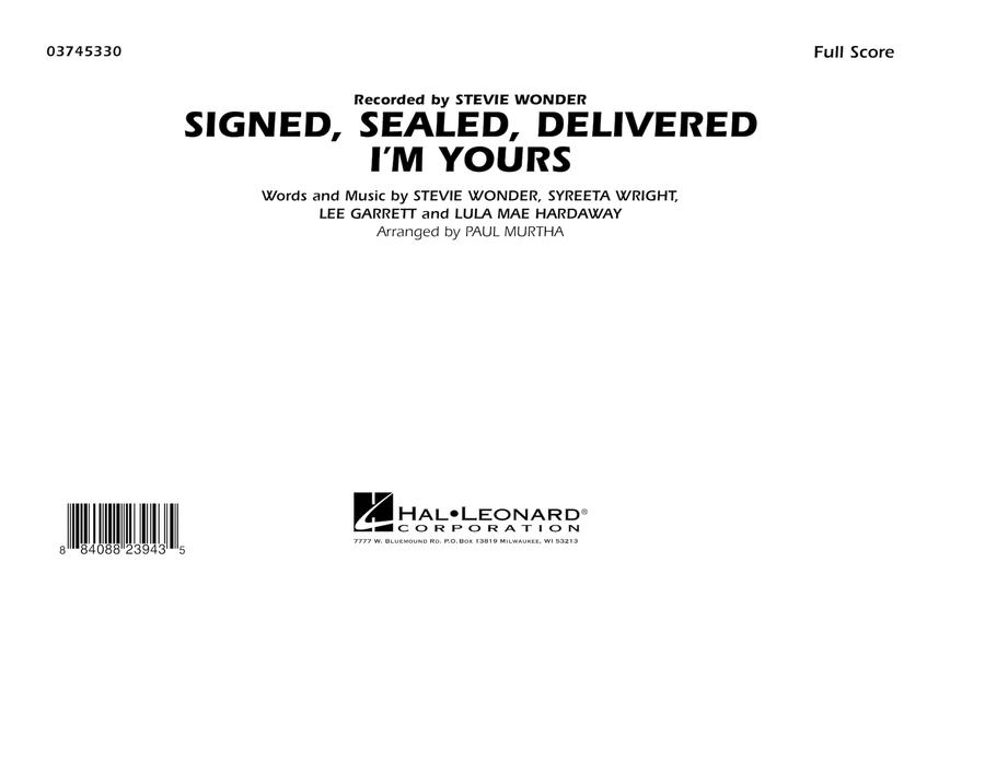 Signed, Sealed, Delivered I'm Yours - Full Score