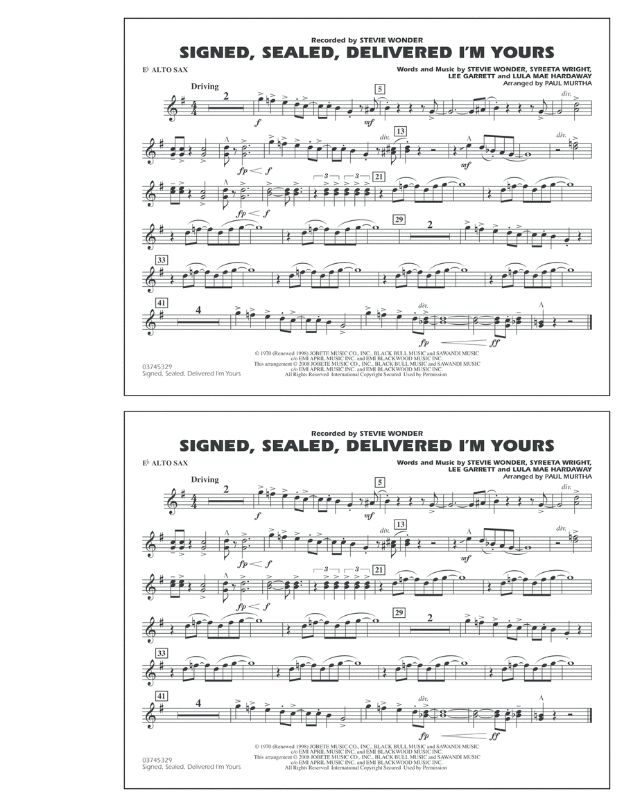 Signed, Sealed, Delivered I'm Yours - Eb Alto Sax