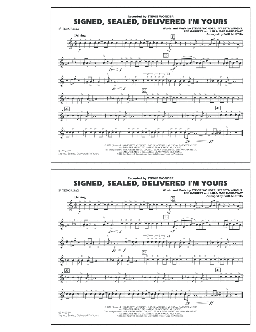 Signed, Sealed, Delivered I'm Yours - Bb Tenor Sax
