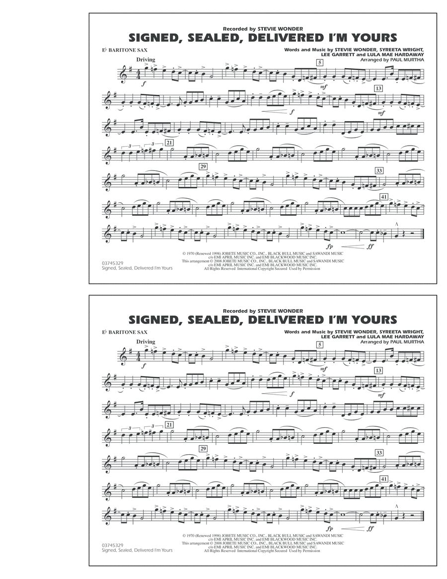 Signed, Sealed, Delivered I'm Yours - Eb Baritone Sax
