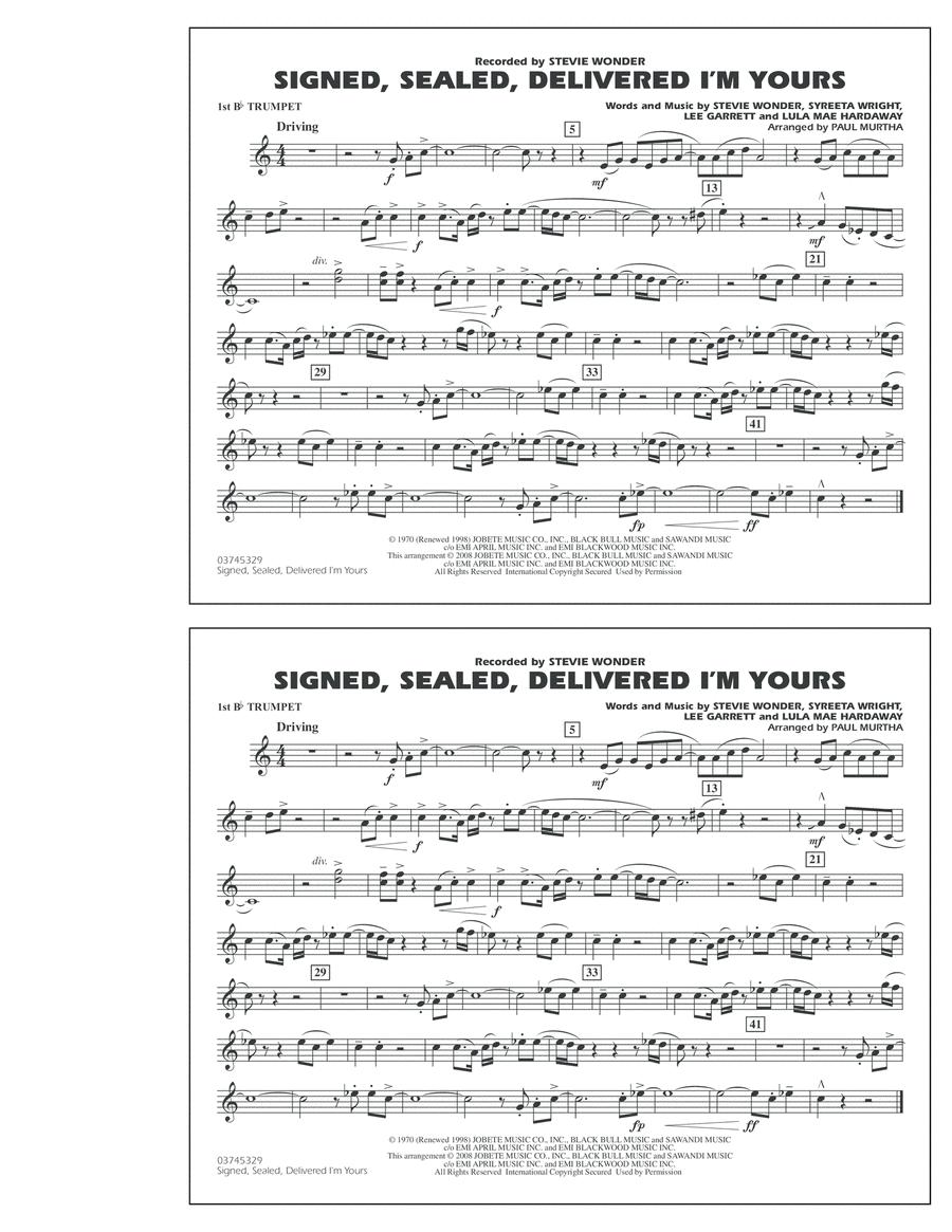 Signed, Sealed, Delivered I'm Yours - 1st Bb Trumpet