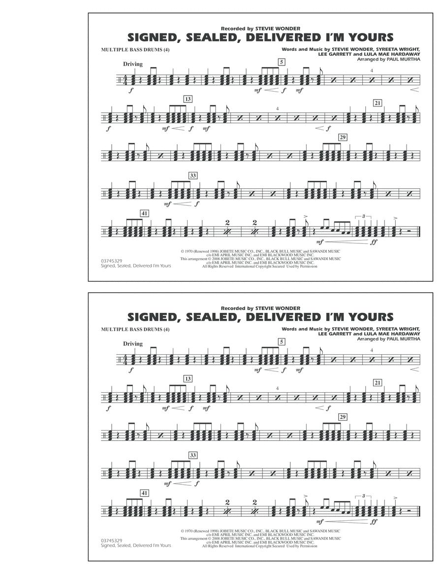 Signed, Sealed, Delivered I'm Yours - Multiple Bass Drums