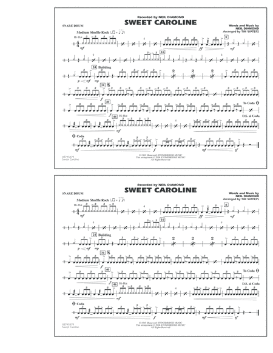 Sweet Caroline - Snare Drum