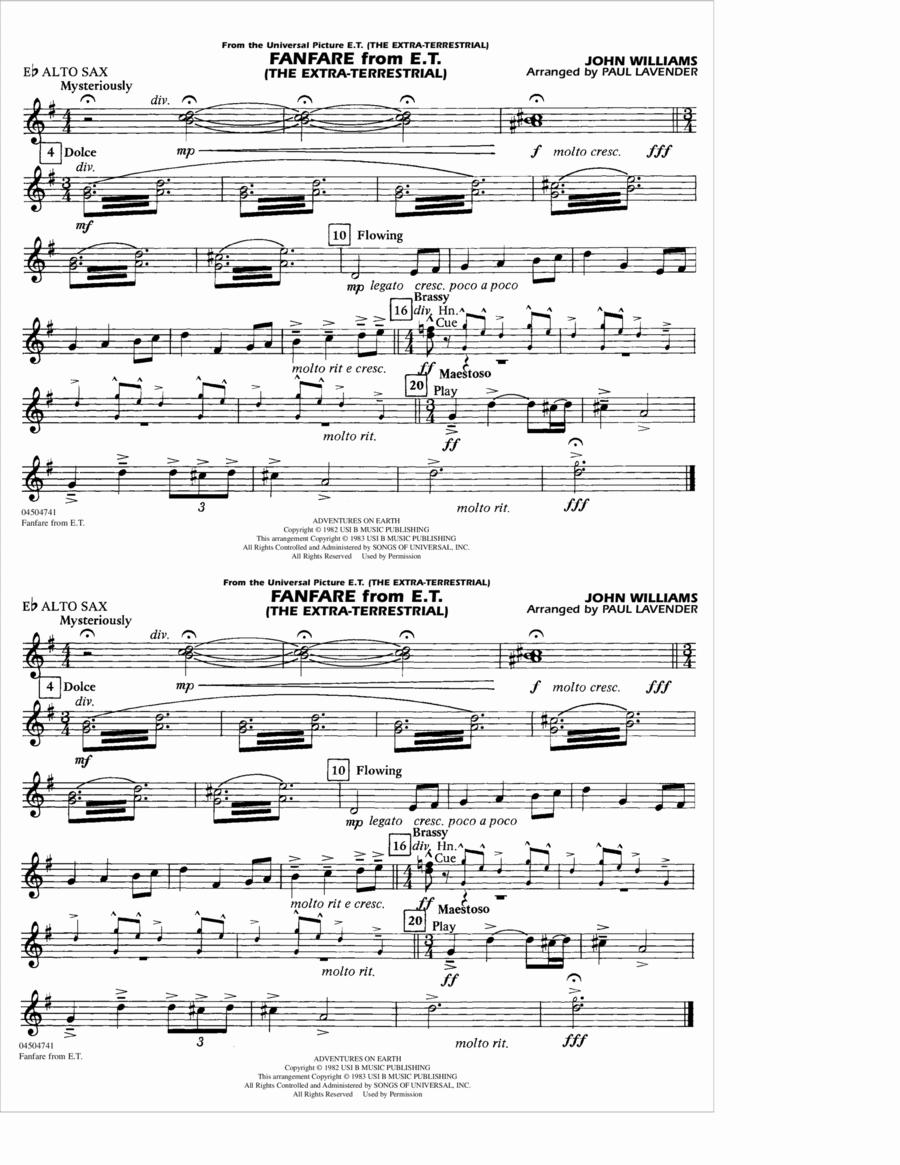Fanfare from E.T. (The Extra-Terrestrial) - Eb Alto Sax