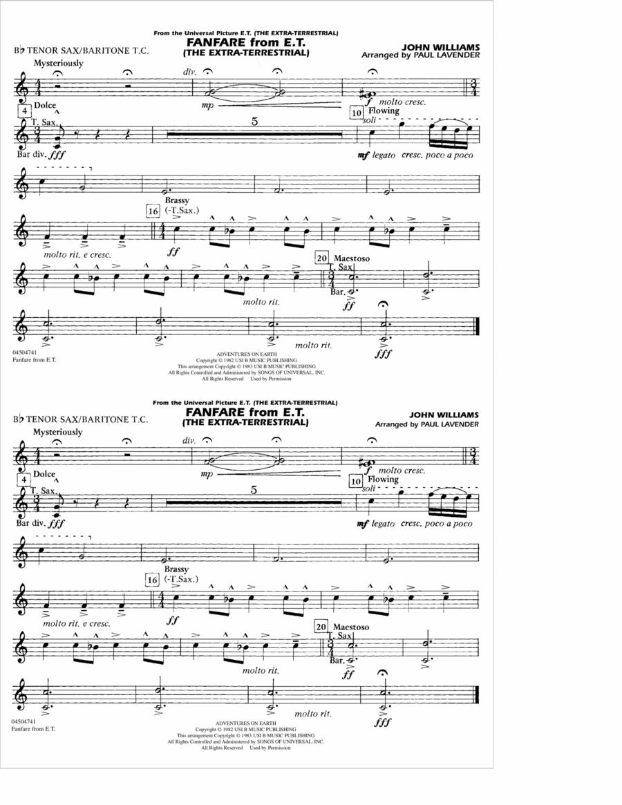 Fanfare from E.T. (The Extra-Terrestrial) - Bb Tenor Sax/Baritone TC