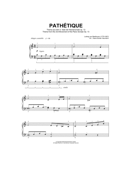 Adagio Cantabile from Sonate Pathetique Op.13, Theme from the Second Movement
