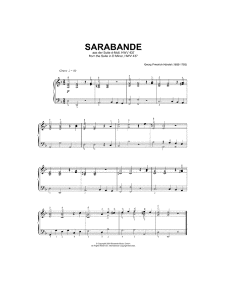 Sarabande (from Harpsichord Suite in D Minor)