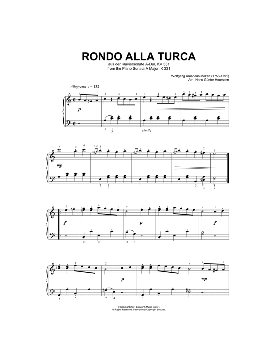 Rondo Alla Turca, from the Piano Sonata A Major, K331