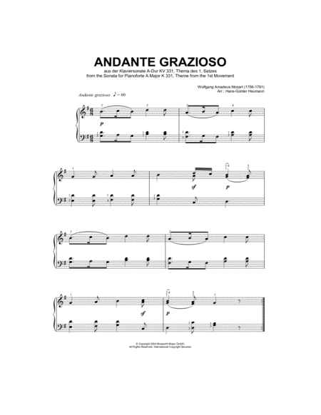 Andante Grazioso (theme from Piano Sonata In A, K331)