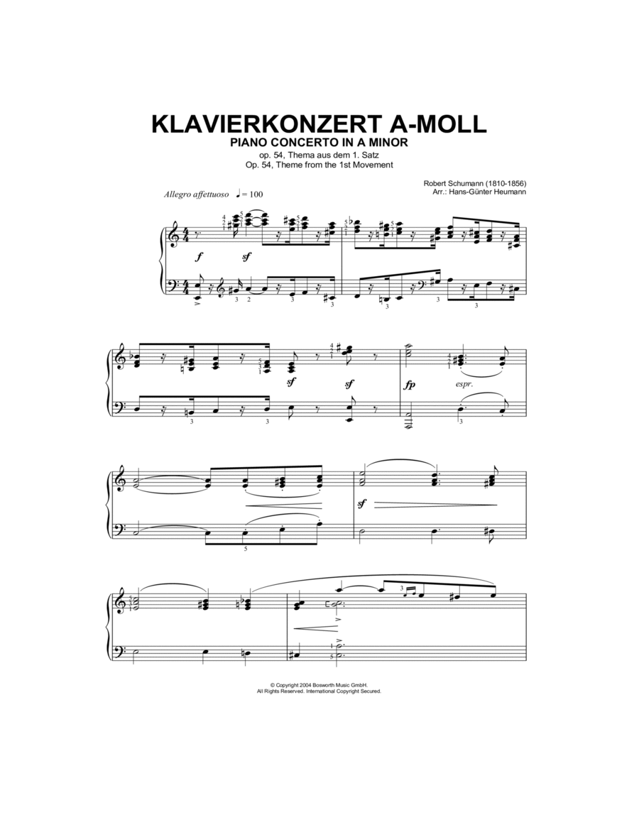 Piano Concerto In A Minor, Op.54, theme from the First Movement