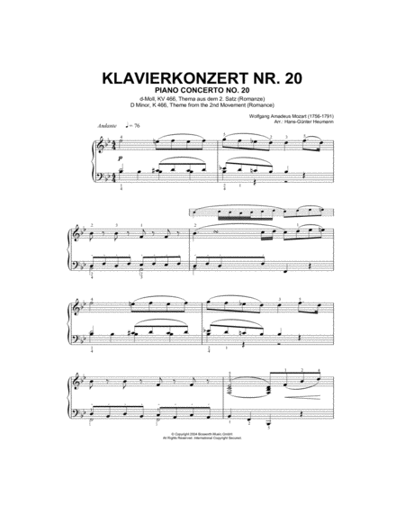 Piano Concerto No.20, theme from the Second Movement (Romance)