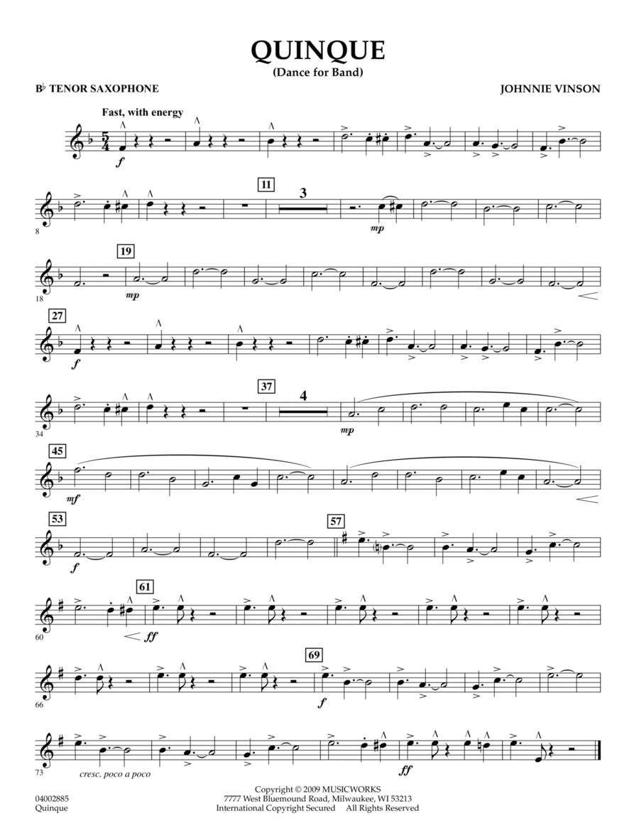 Quinque (Dance for Band) - Bb Tenor Saxophone