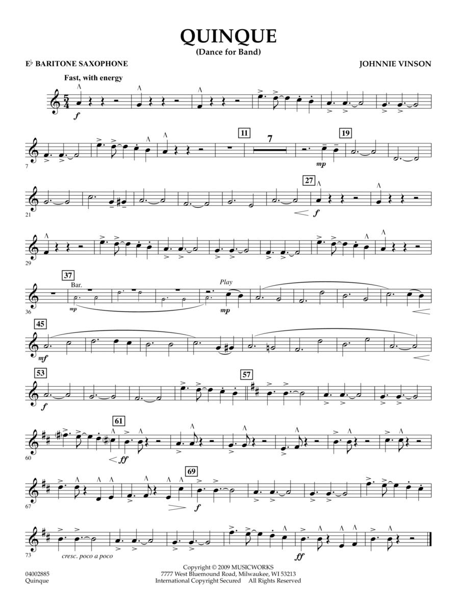 Quinque (Dance for Band) - Eb Baritone Saxophone