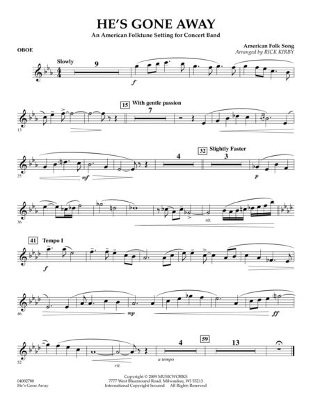 He's Gone Away (An American Folktune Setting for Concert Band) - Oboe