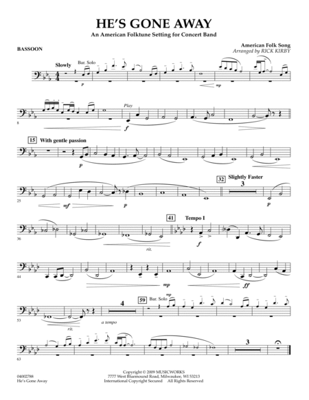 He's Gone Away (An American Folktune Setting for Concert Band) - Bassoon