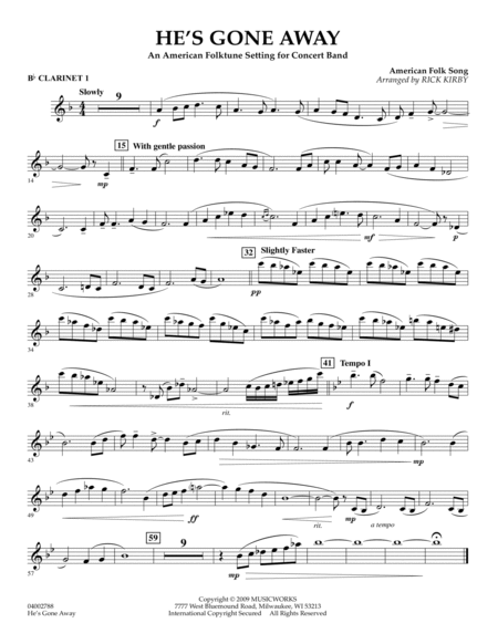 He's Gone Away (An American Folktune Setting for Concert Band) - Bb Clarinet 1