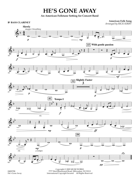 He's Gone Away (An American Folktune Setting for Concert Band) - Bb Bass Clarinet