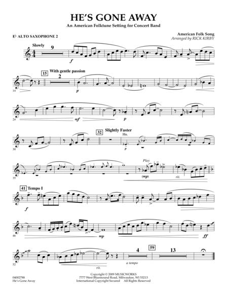 He's Gone Away (An American Folktune Setting for Concert Band) - Eb Alto Saxophone 2