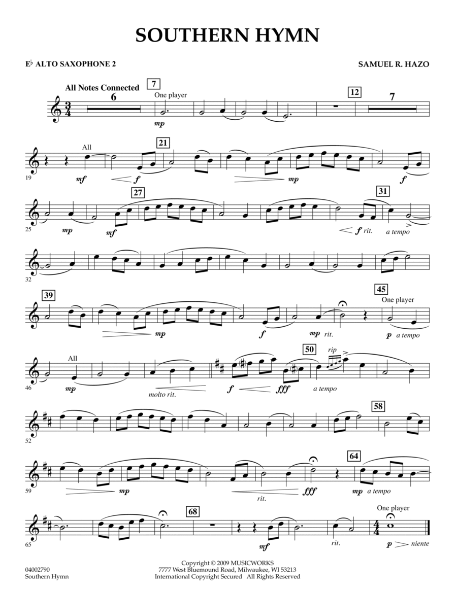 Southern Hymn - Eb Alto Saxophone 2