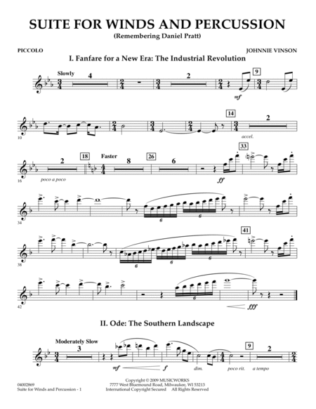 Suite for Winds and Percussion - Piccolo