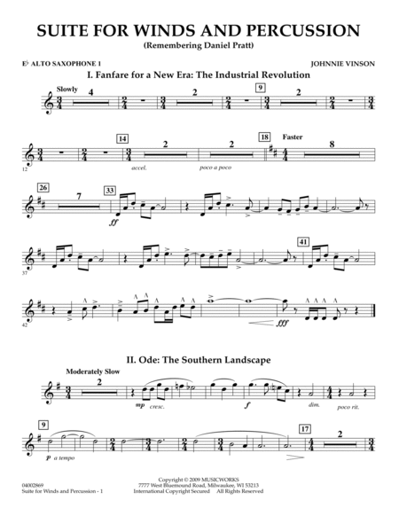 Suite for Winds and Percussion - Eb Alto Saxophone 1