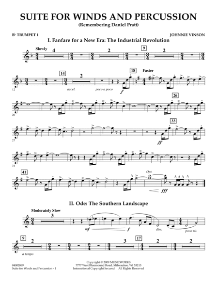Suite for Winds and Percussion - Bb Trumpet 1