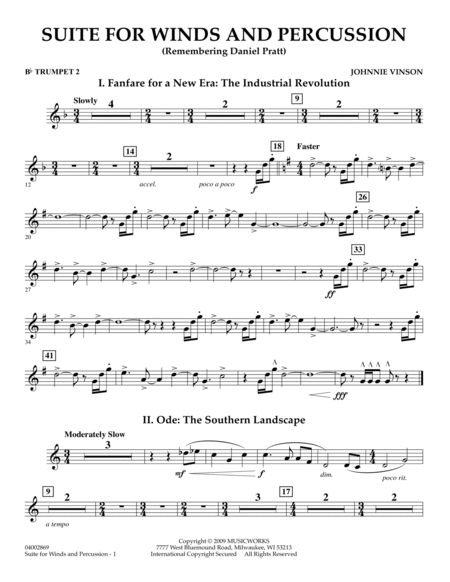 Suite for Winds and Percussion - Bb Trumpet 2