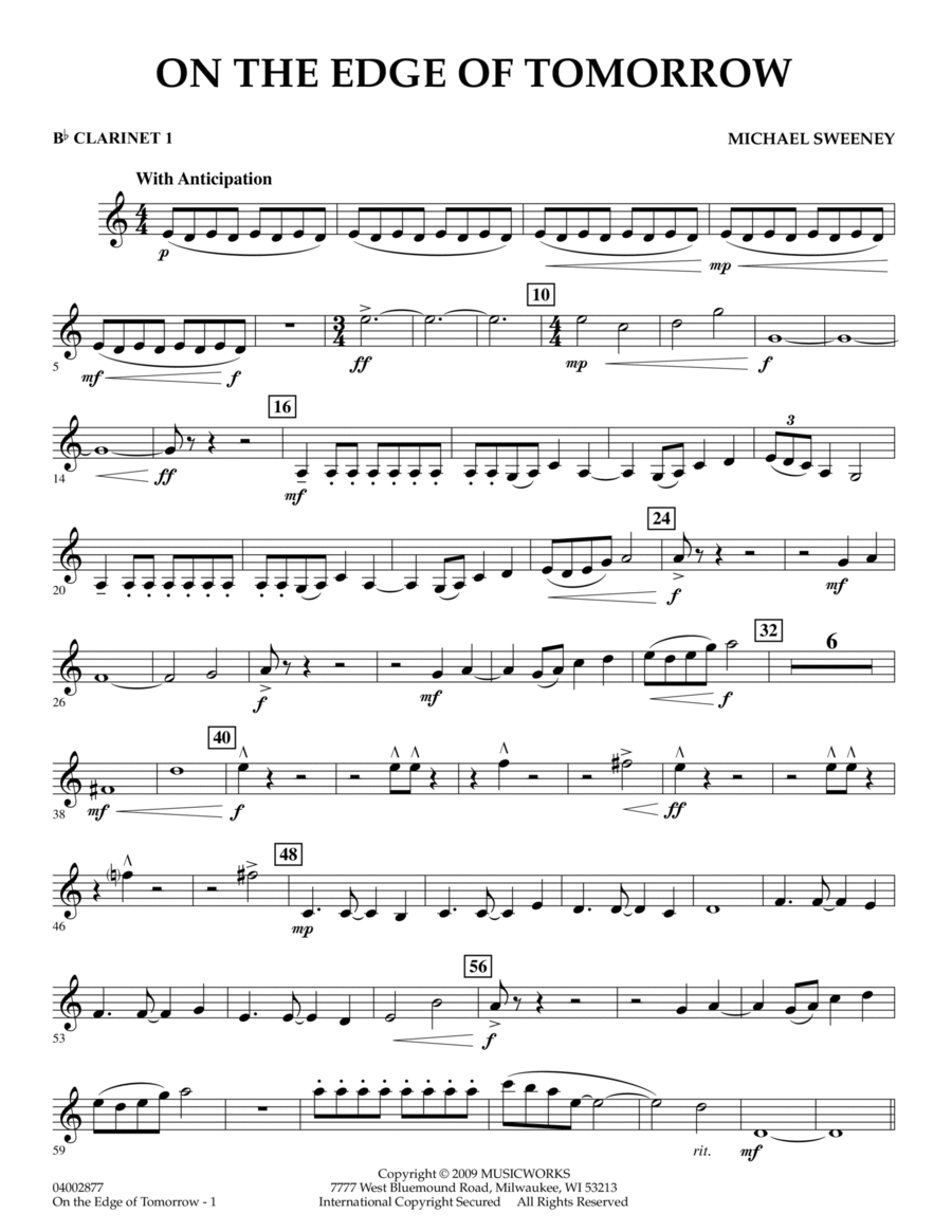 On the Edge of Tomorrow - Bb Clarinet 1