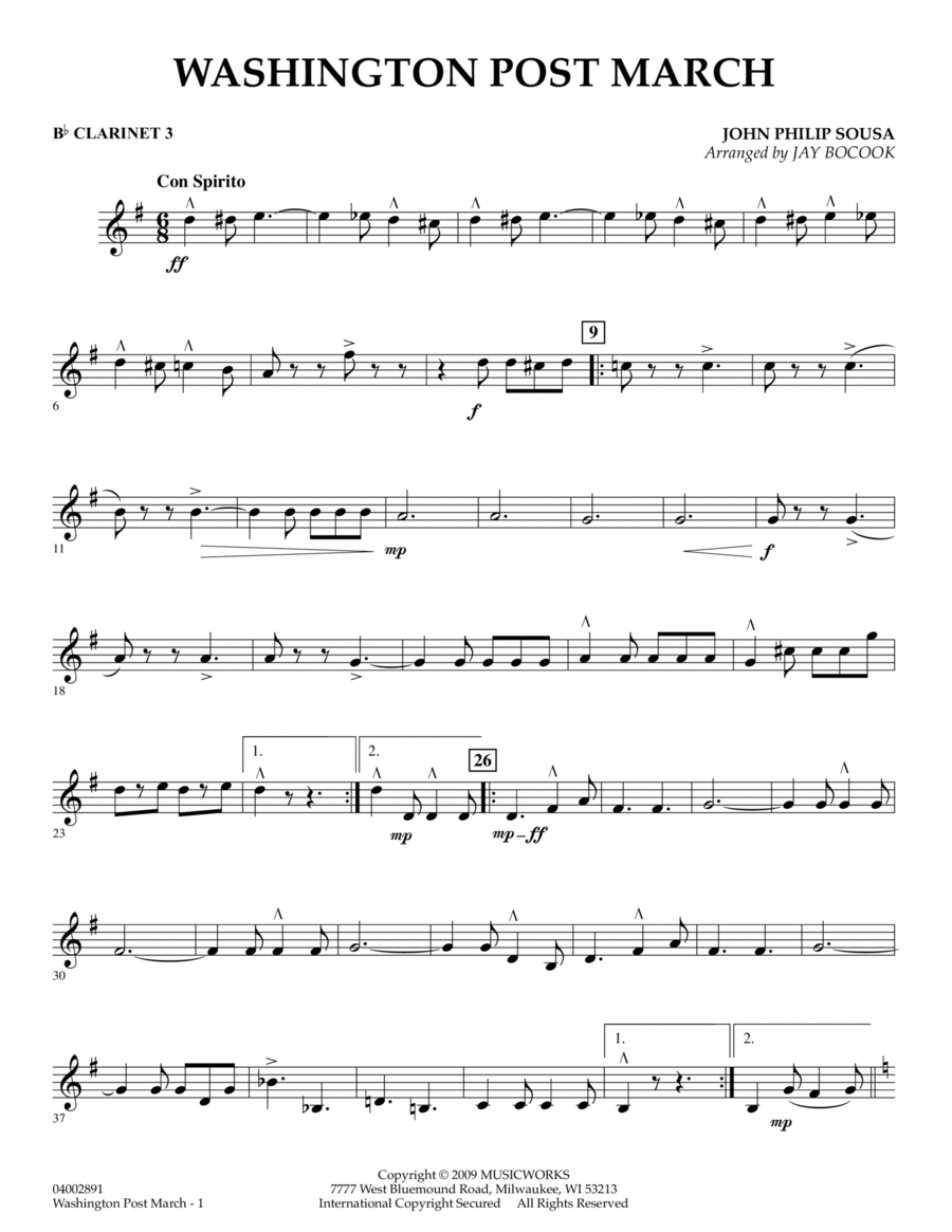 Washington Post March - Bb Clarinet 3
